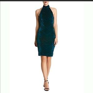 NWT Avery Velvet Halter Dress small Teal/Black